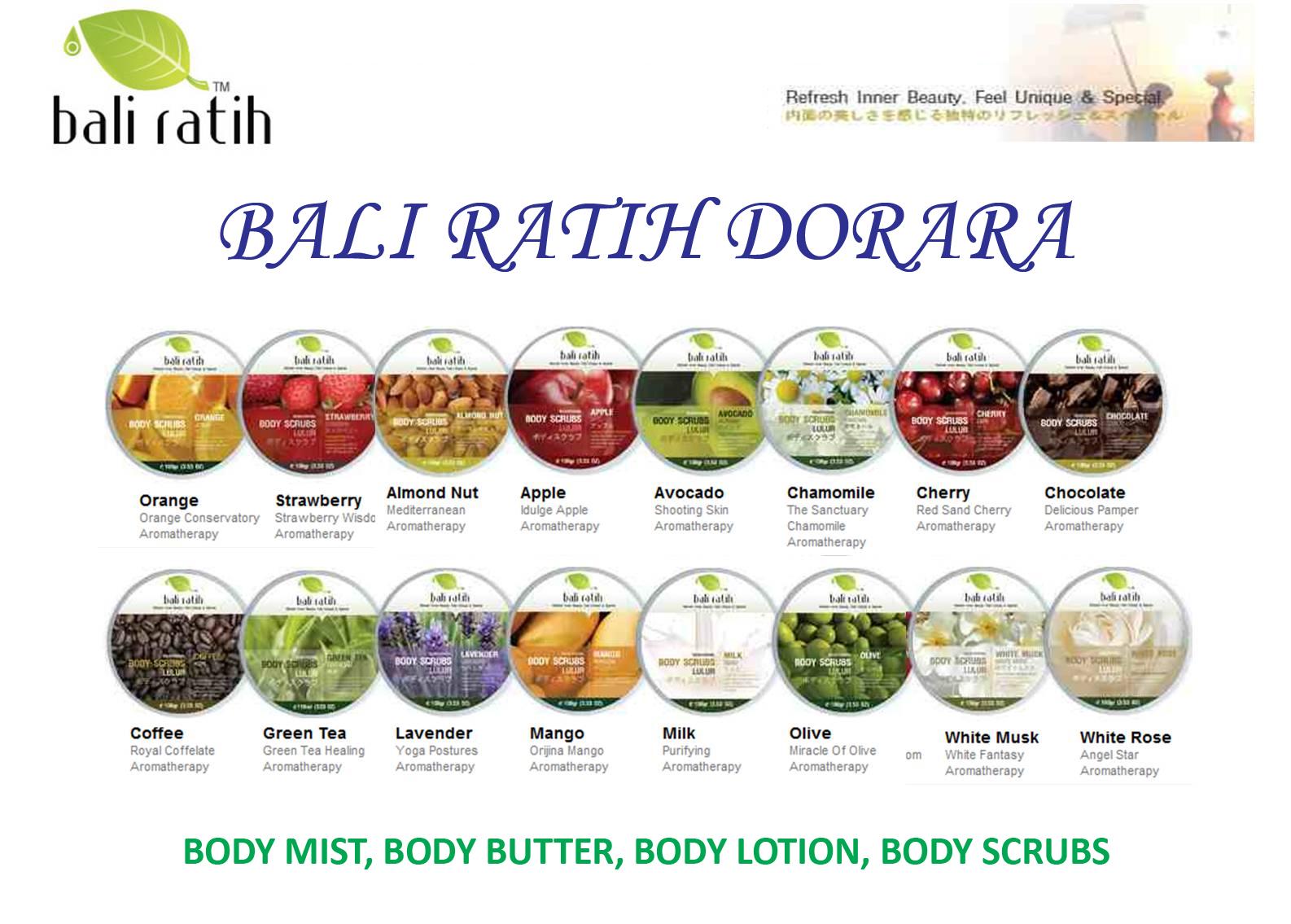 Bali Ratih Dorara Body Lotion 16 Variant Aromatherapy Ratihdorara Almond Nut Apple Avocado Chamommile Cherry Chocolate Coffee Green Tea Lavender Mango Milk Olive