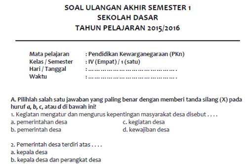 Soal Latihan Uas Pkn Semester 1 Kelas 4 Sd Mi