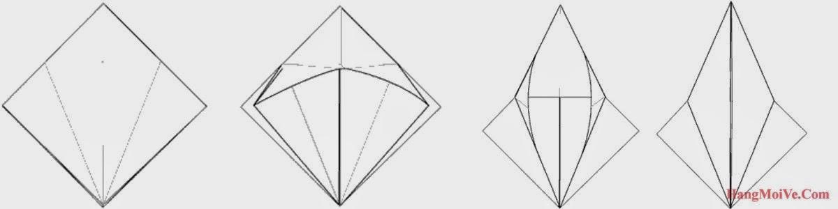 Bước 6: Từ hình 1 ta kéo góc dưới cùng của lớp giấy đầu tiên theo chiều từ trong ra ngoài, hướng từ dưới lên trên (hình 2 + hình 3), ta sẽ được như hình 4.