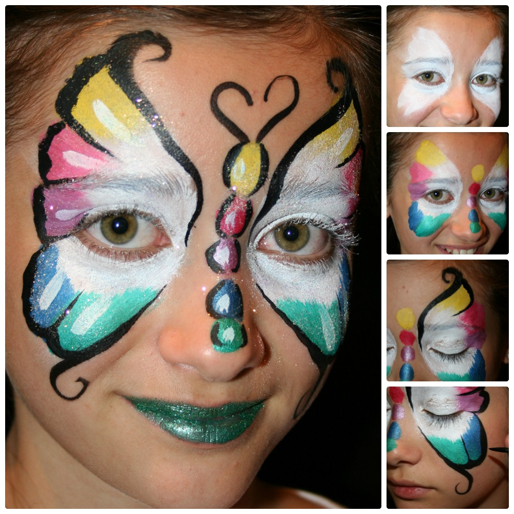 jen yard sale desk onel dried paint art consie butterfly face paintSimple Butterfly Face Paint