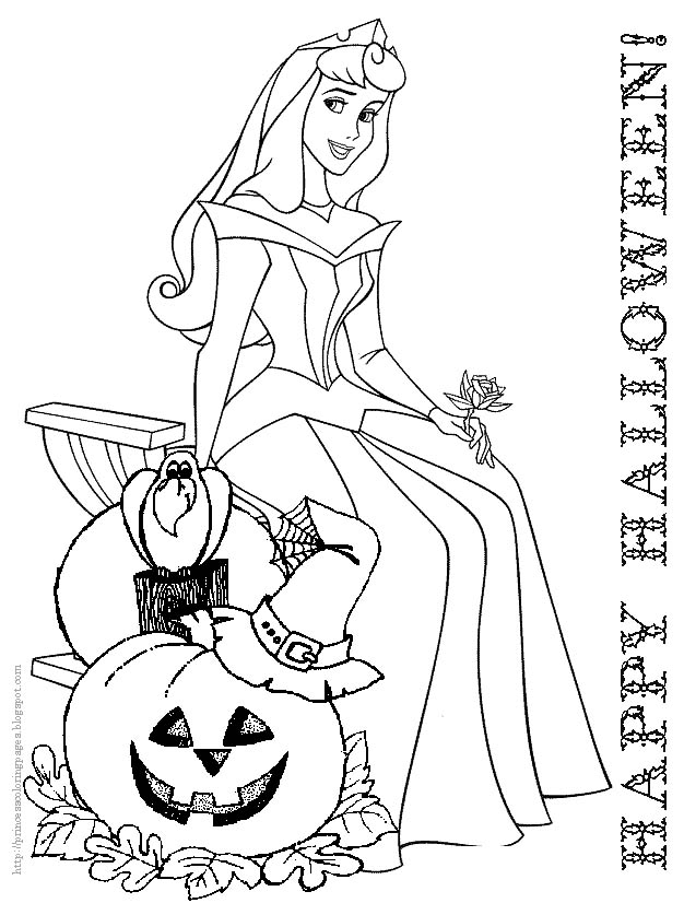Coloring Pages Halloween Princess : Halloween coloring page princess belle disney