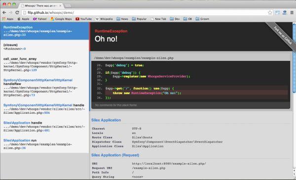 Whoops merupakan sebuah PHP library untuk menangani exceptions