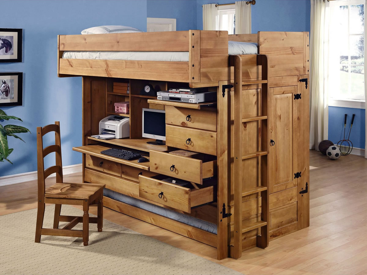 Pix grove all in one full loft bed - Loft bed with drawers underneath ...