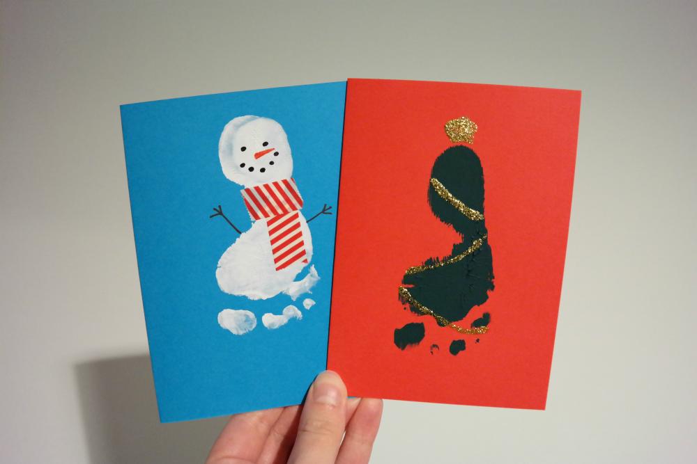 DIY: Baby Footprint Christmas Cards