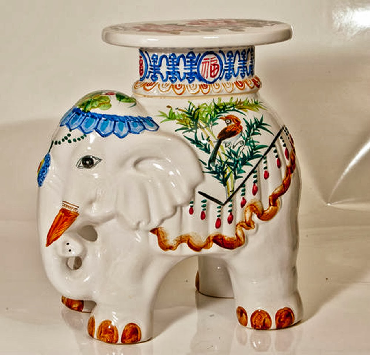 Vintage Elephant Pottery Plant Stand Oriental Theme title=