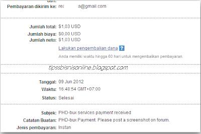 Bukti Pembayaran Dari PTC Phd-bux