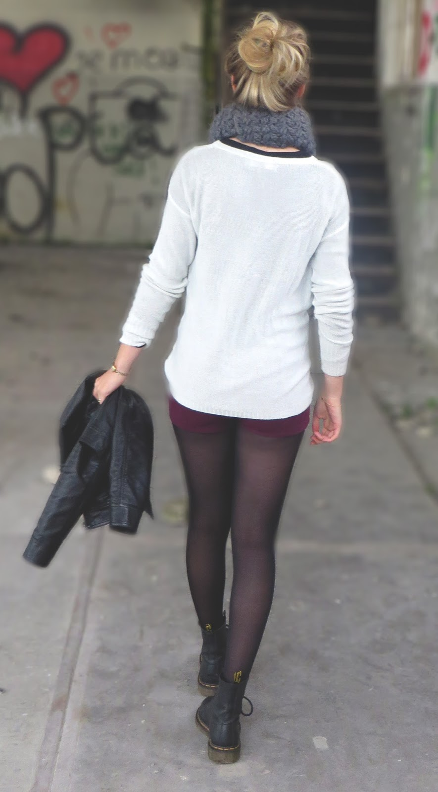 outfit with grey scarf  and burgundy shorts