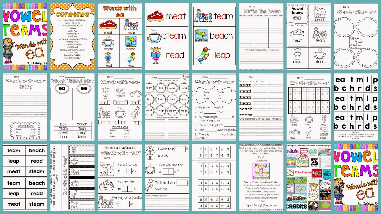 http://www.teacherspayteachers.com/Product/EA-Vowel-Team-Print-and-Go-Printables-1181435