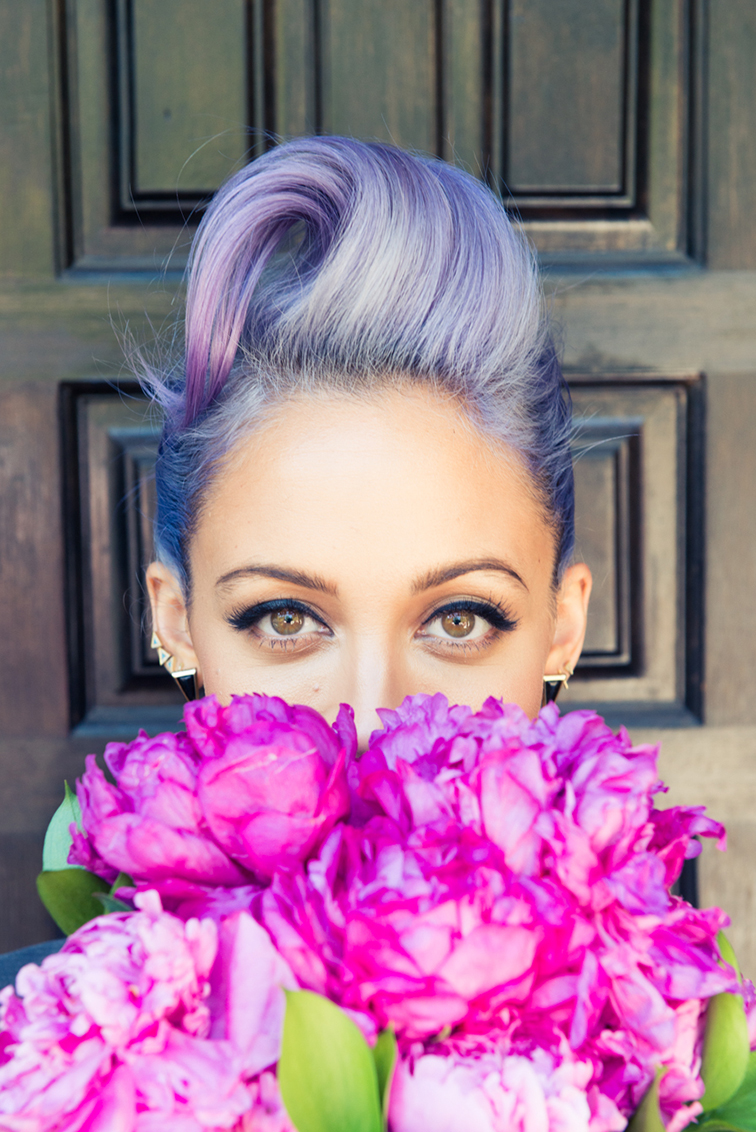 Nicole Richie purple hair and peonies, wearing House of Harlow jewelry for Paper Magazine and the Coveteur