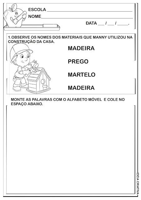 Atividade Dia do Trabalho Educação Infantil com Alfabeto Móvel
