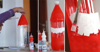 papai noel com reciclagem de garrafa pet