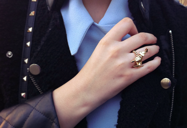 Love Hearts and Crosses Origami ring