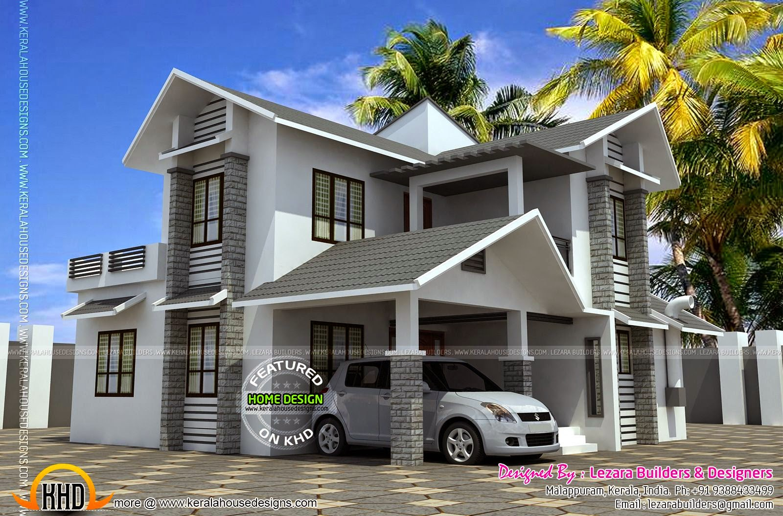 Sloping roof 1600 square feet house kerala home design for 1600 square foot house