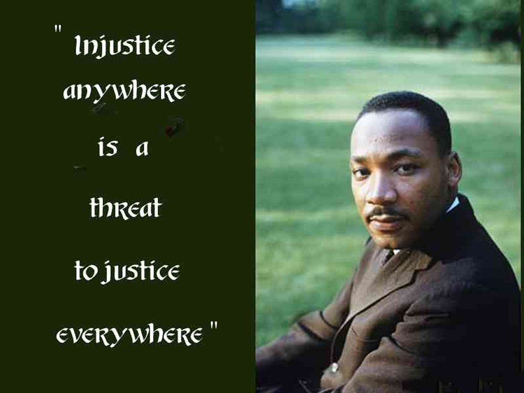 the definition of justice and injustice through the works of martin luther king jr This article reflects on the legacy of martin luther king, jr  luther king, jr i discuss race, social justice  through faith, but faith without works is.