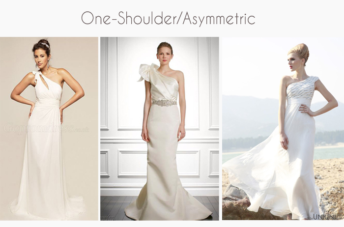 one shoulder, asymmetric wedding dress