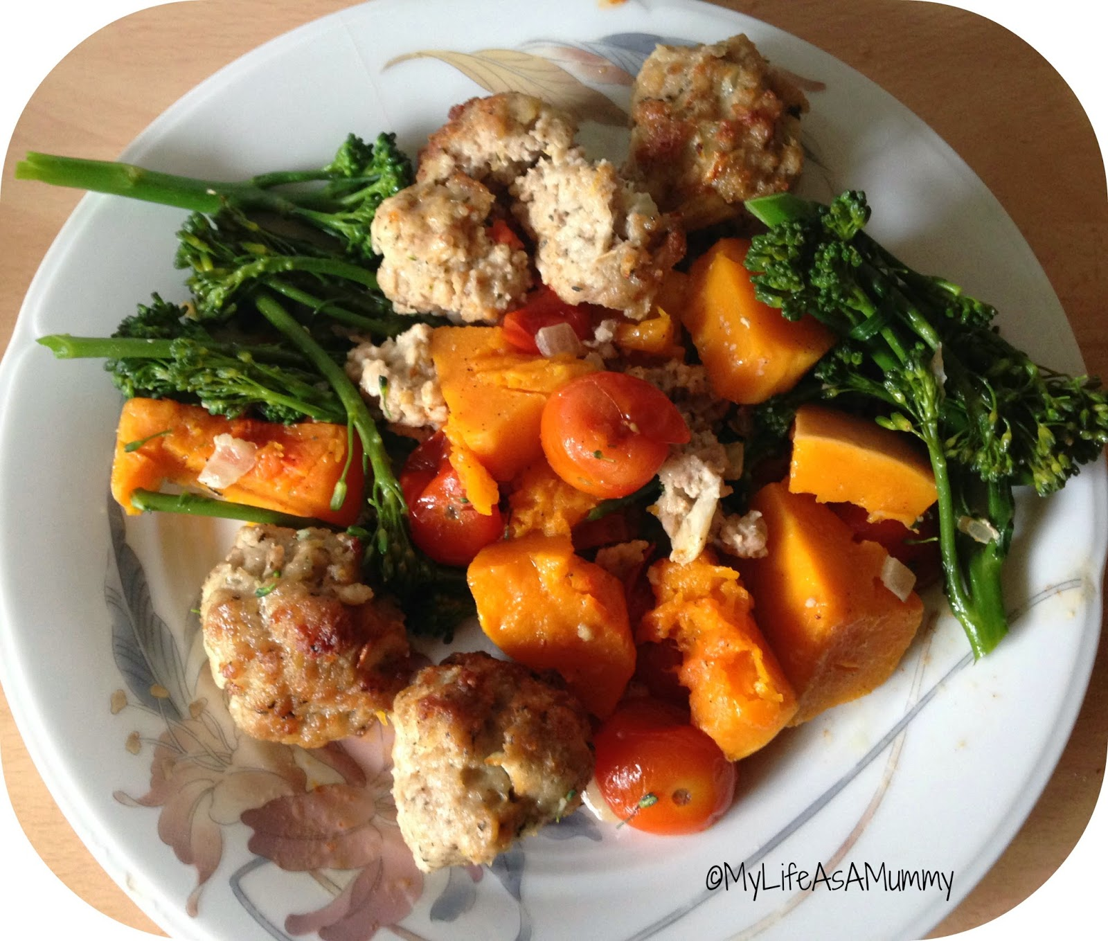 One-Pan Bake with Italian Style Lemony Pork Meatballs, Tenderstem & Roast Squash