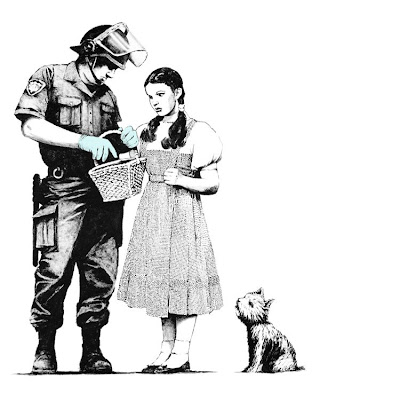 we banksy art police officer inspecting dorothy basket large