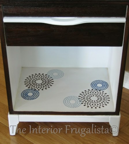 Mid Century Modern Side Table with stenciled base