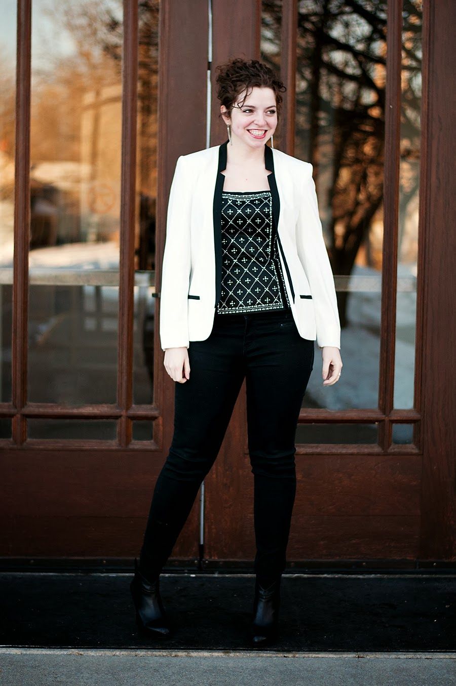 Studded Corset top with black and white blazer