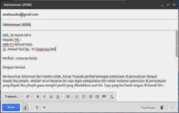 Contoh Surat Lamaran Kerja Via Email - contoh cara membuat