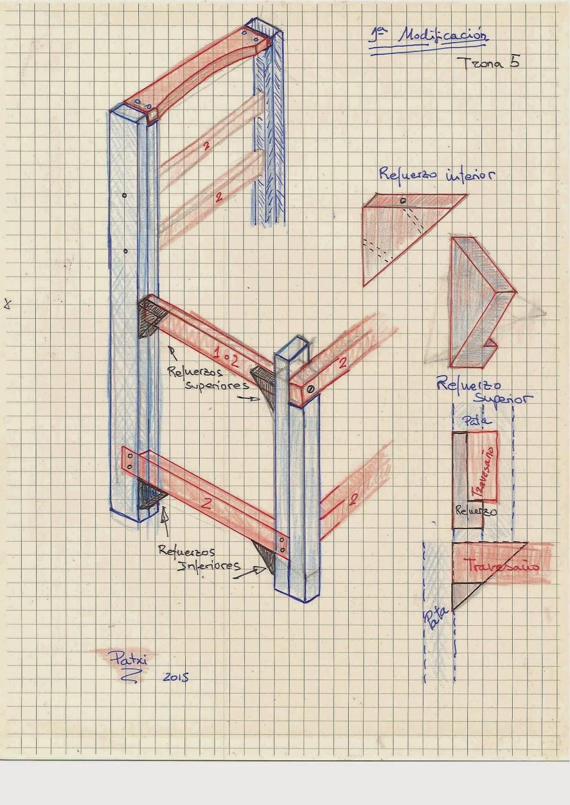 como hacer una trona de madera reciclada.Planos