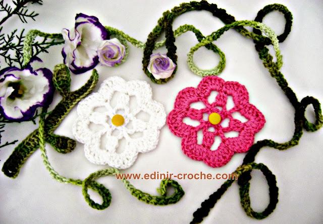 flores em croche para aplicação da coleção aprendi e ensinei com edinir-croche