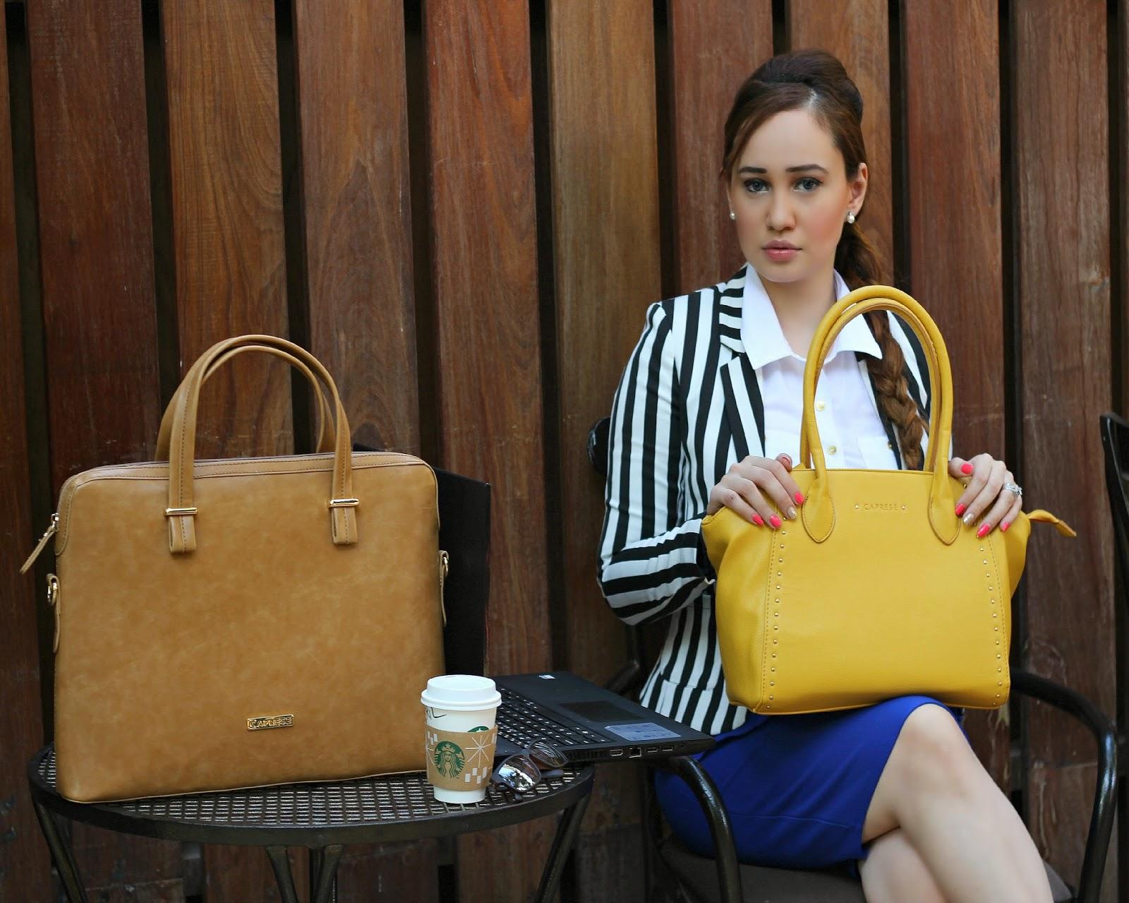 Caprese handbags, Striped Blazer, White Skirt, Blue Pencil Skirt