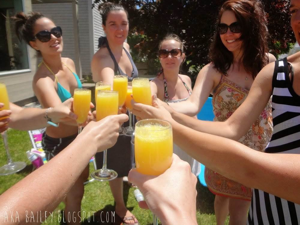 Toasting with mimosas