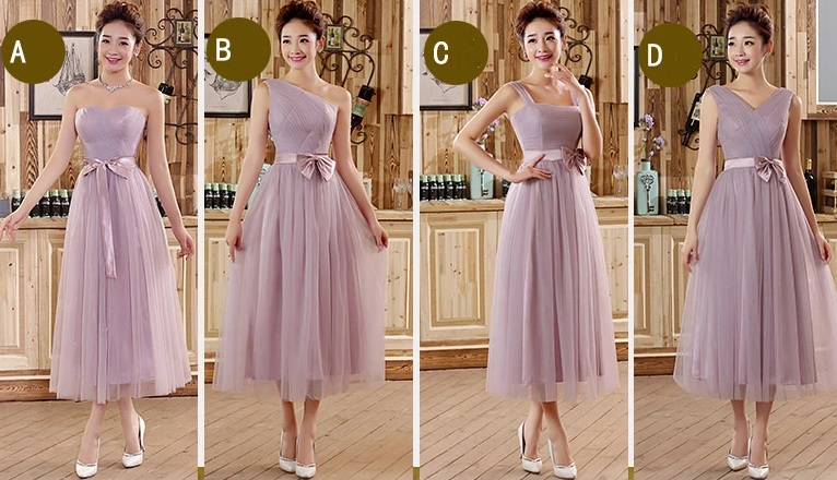 4-Design Dusty Lavender Mid Calf Length Bridesmaids Dress