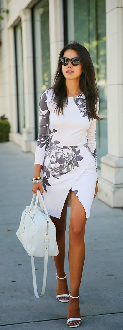 Sexy and Classic Floral Front Slit Dress with White Pumps   Chic Sping Outfits