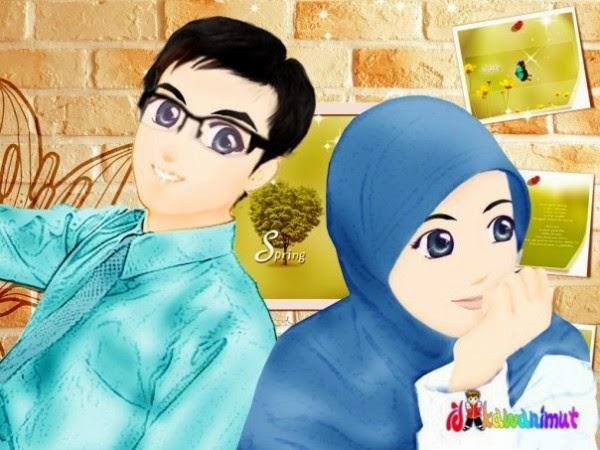 Gambar Kartun Romantis Islami Kisah Cinta Dua Kekasih