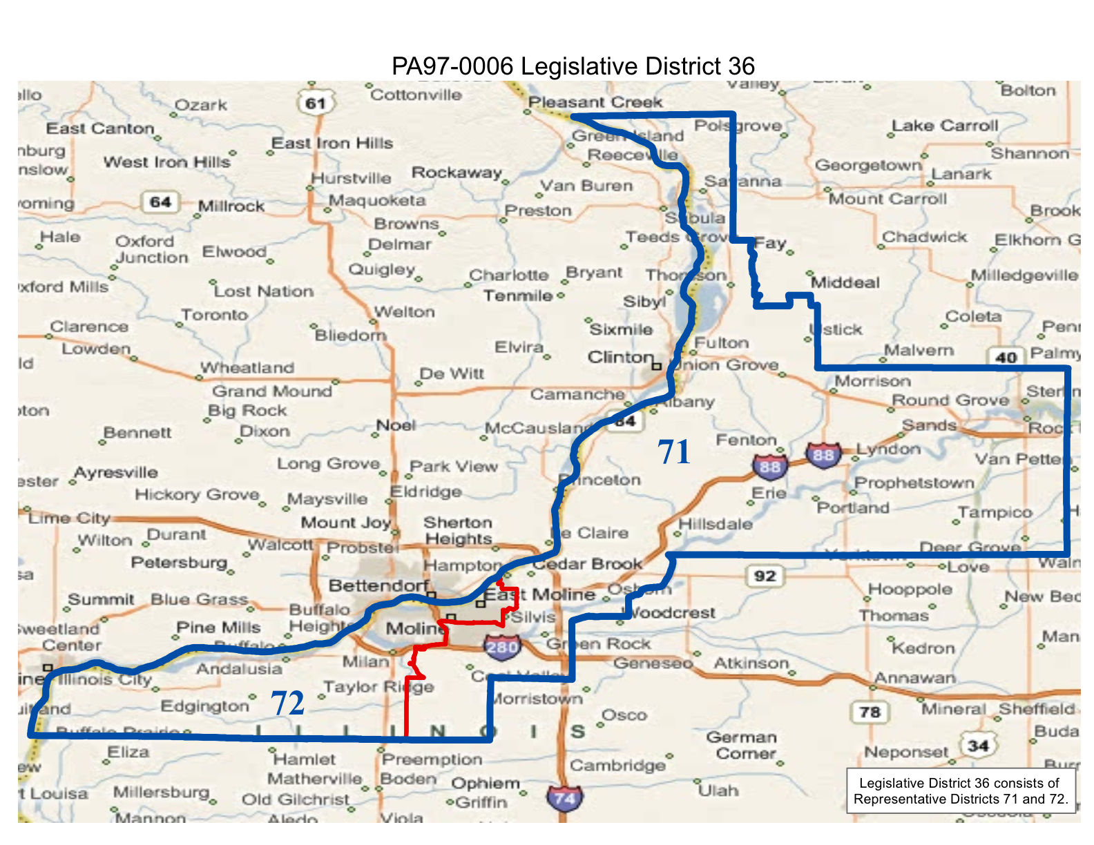 map of realigned illinois legislative district 36 and state representative districts 71 and 72