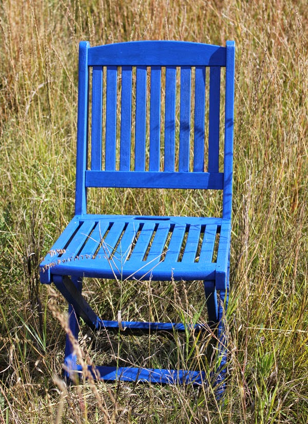Blue Painted Vintage Folding Chair