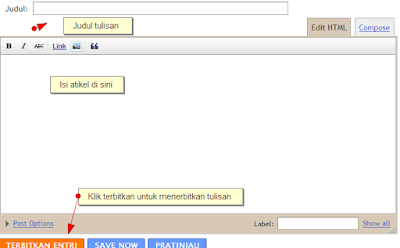 Menulis posting di blogger blogspot