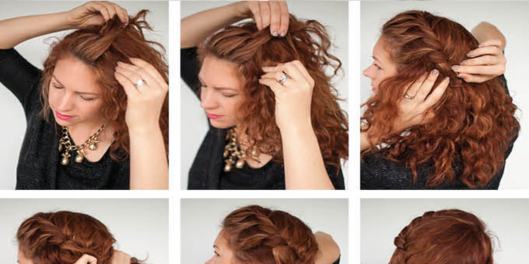 quick everyday curly updo hairstyle tutorial emaggy