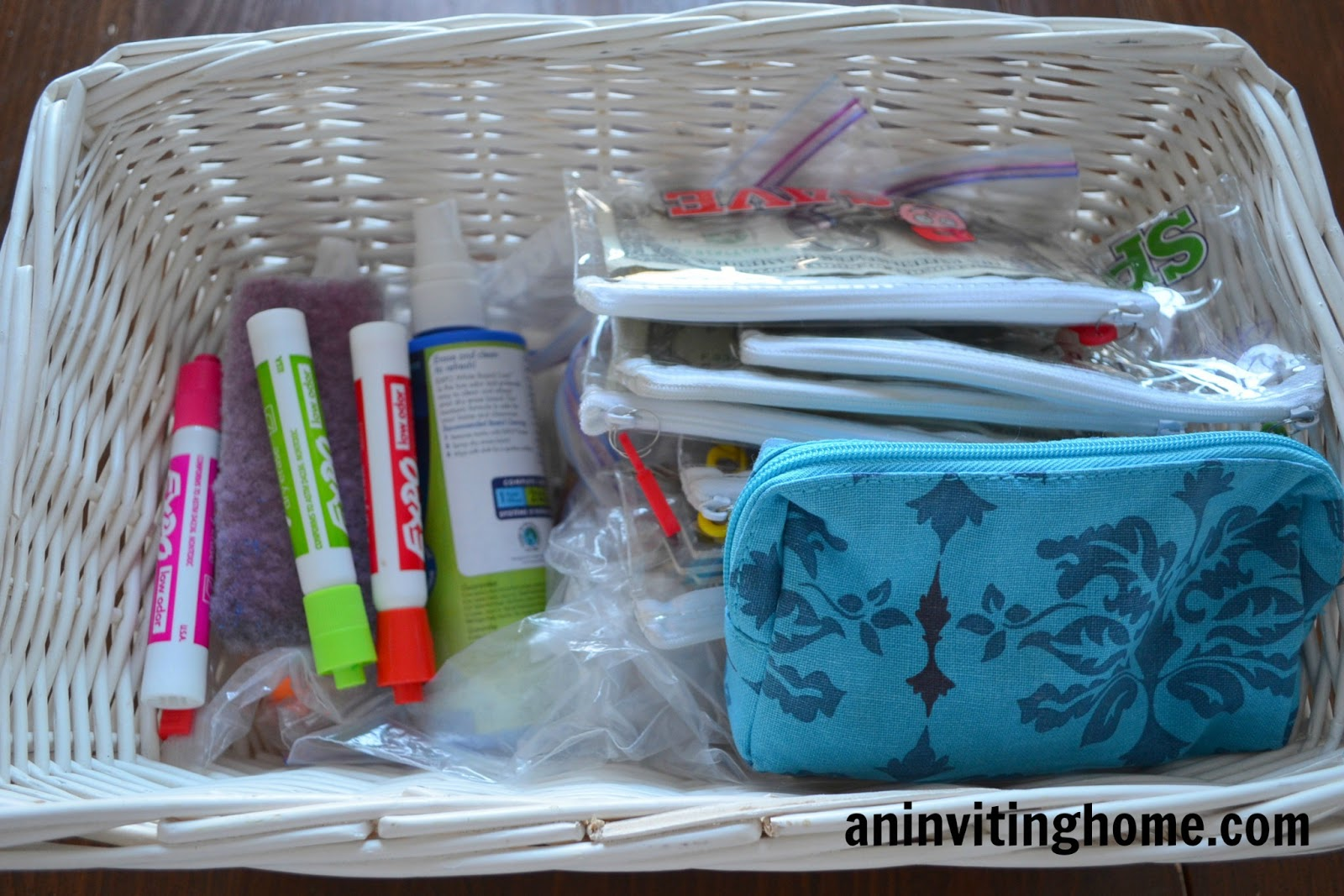 basket with white board supplies