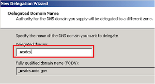 DNS new delegation wizard