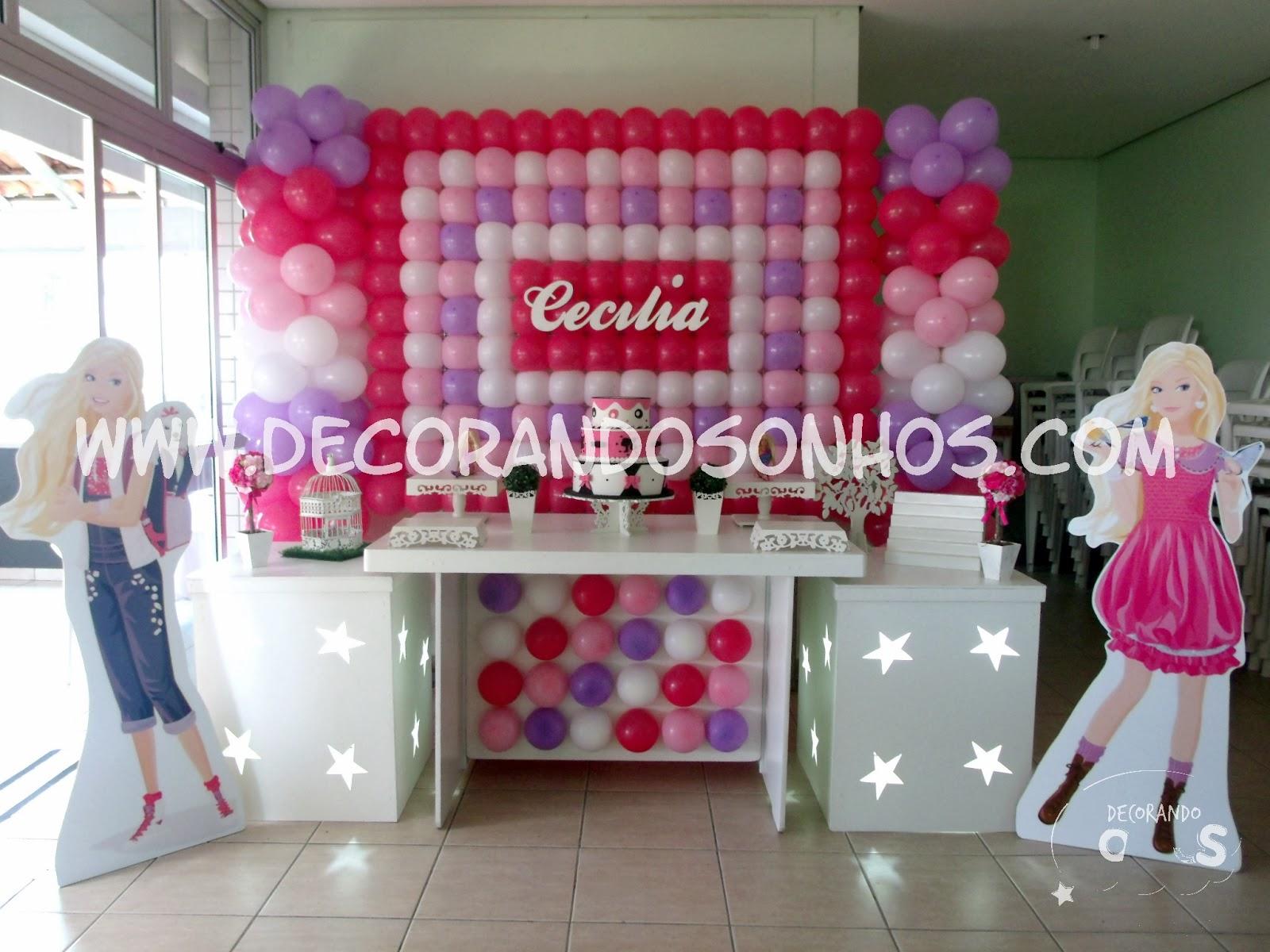 painel+de+balões+barbie+painel+de+balões+rosa+lilas+e+branco+festa