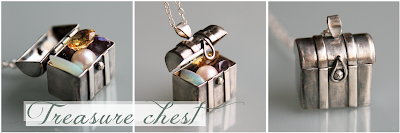 Sterling silver treasure chest pendant necklace