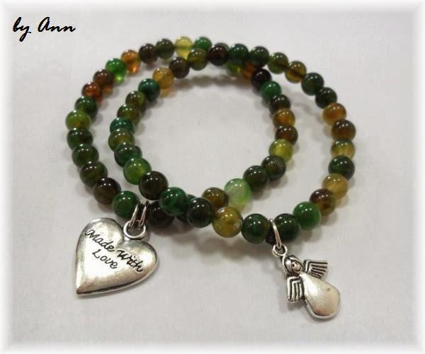 bransoletka na gumce agaty zielone serce aniołek