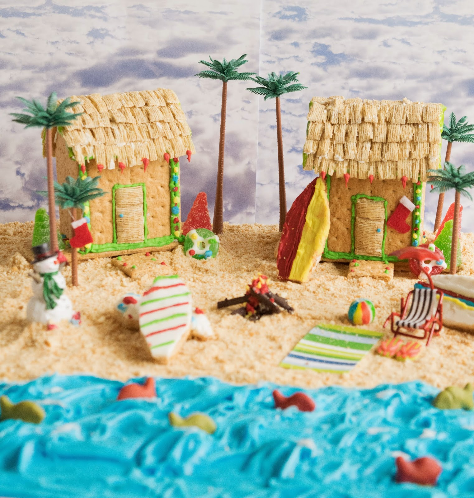 Graham cracker beach house & peanut butter cookie surfboards