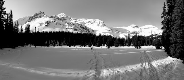 Stanley Mitchell Hut, Little Yoho Valley. The Vice President, President, and Kerr, mountains.