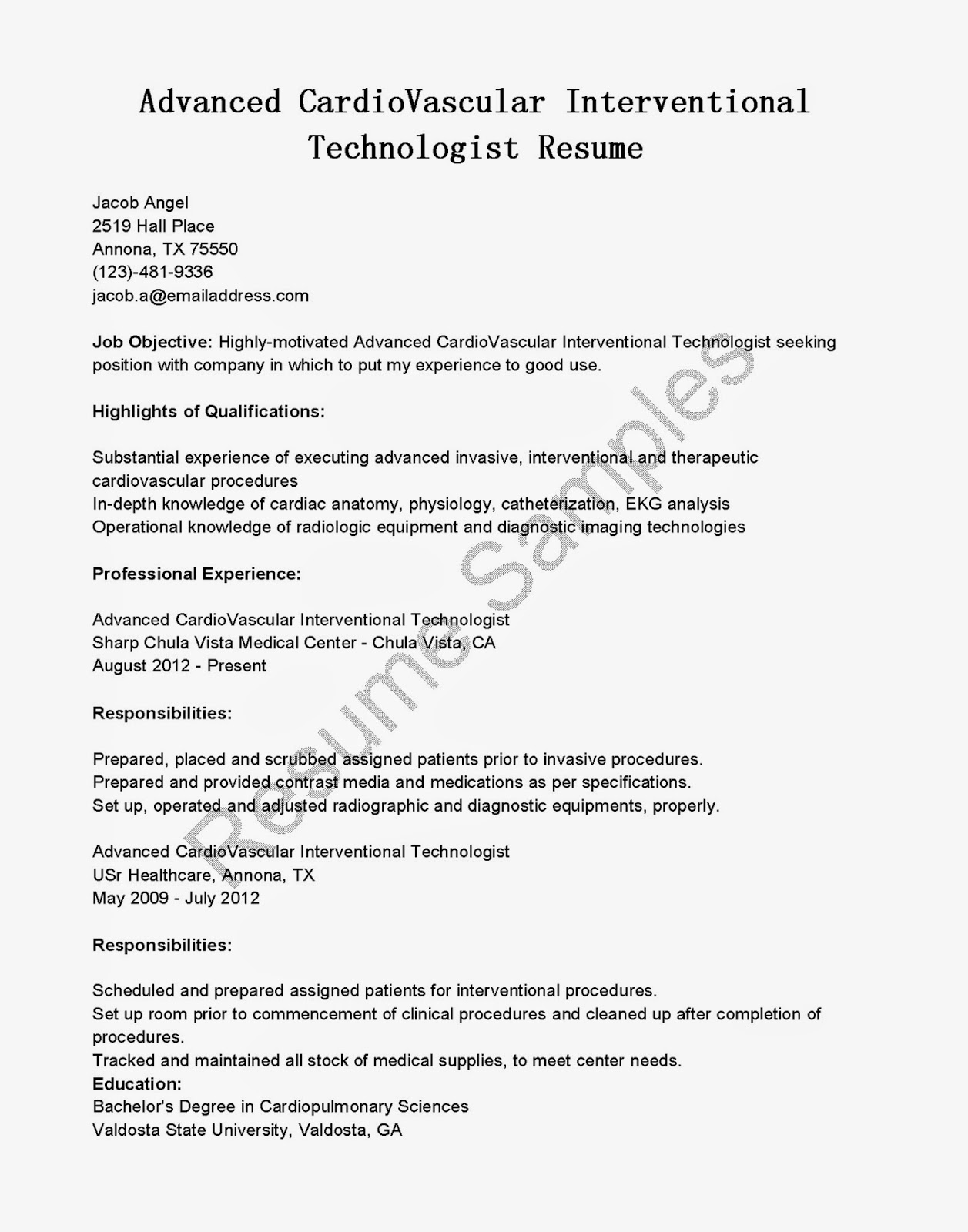 advanced cardiovascular interventional technologist resume sample