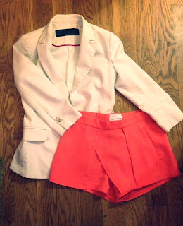 Zara basic blazer, Zara white blazer, white blazer, white and coral, 213 Industry coral, coral skort, coral shorts, 213 Industry, What I Wore, NYC style, NYC girl, lady about town, style in New York City, New York fashionista, that kind of girl style, edgy girls, bright color combinations