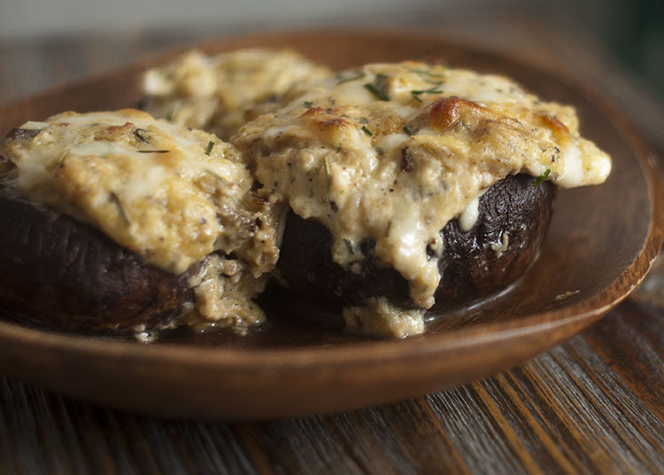 Crab and Cream Cheese stuffed mushrooms