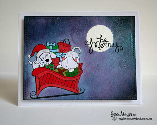Cat and Dog in Sleigh Christmas Card by Jess Moyer for Newton's Nook Designs - Christmas Delivery Stamp Set