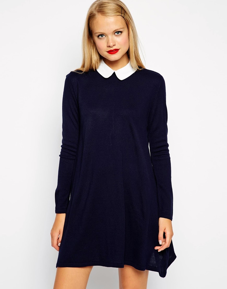 navy dress with white collar