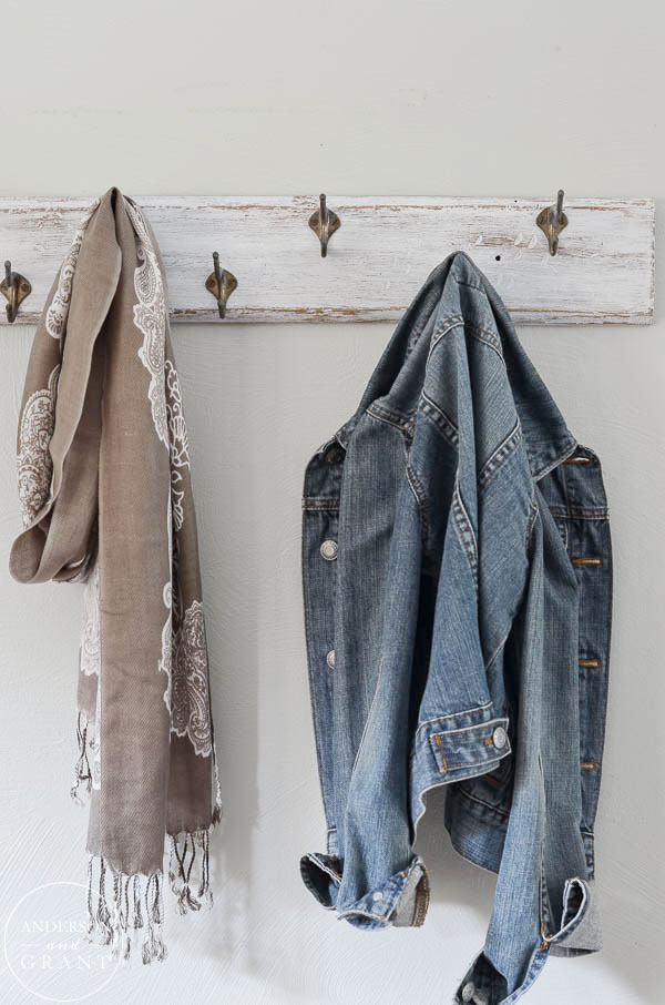 Need to organize your mudroom?  Paint a distressed coat rack for holding your coats and scarves.  ||  www.andersonandgrant.com