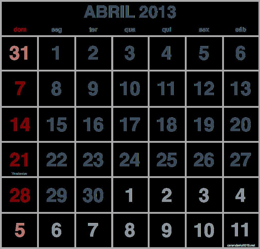 imagem calendario abril 2013
