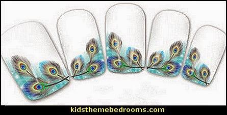 peacock nail water decals-nail art design-nails